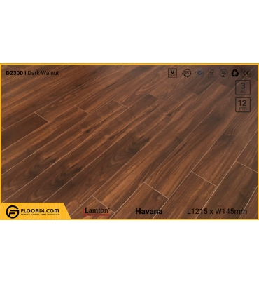 Sàn gỗ Lamton D2300 Dark Walnut - 12mm - AC3